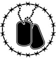 dog tags and barbed wire vector image vector image