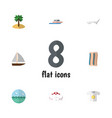 flat icon beach set of coconut deck chair vector image vector image