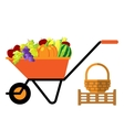 Fruits and vegetables in wheelbarrow vector image vector image