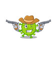 funny virus corona cell as a cowboy holding guns vector image vector image