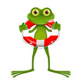 goggle-eyed frog with lifebuoy vector image vector image