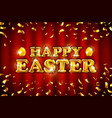 happy easter on red curtain background vector image vector image