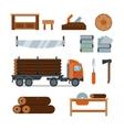 Lumberjack woodworking tools icons