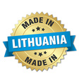 made in Lithuania gold badge with blue ribbon vector image vector image