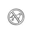 no dog allowed sign hand drawn outline doodle icon vector image vector image