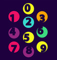 numbers from 0 till 9 color sample isolated black vector image