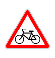 road sign warning pathway bicyclist on white vector image vector image