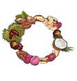 round frame of walnut coconut cashew kola pine vector image vector image