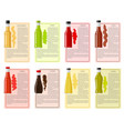 sauce bottle collection with information text vector image vector image