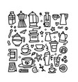 set coffee linear drawings hand drawn vector image