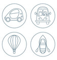 set of 4 circles with cartoon transport vector image vector image