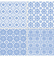 set of hand drawn blue moroccan seamless patterns vector image vector image