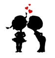 Silhouettes of kissing boy and girl vector image vector image