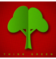Stylized green paper tree with shadow on dark red vector image