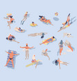 swimming people cartoon characters doing summer vector image