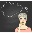 Thinking woman holding pencil vector image vector image