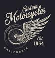 vintage custom motorcycle logo vector image vector image