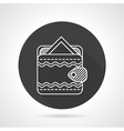 Wallet black round icon vector image