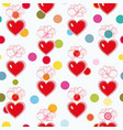 white pattern with blue heart and flowers vector image
