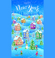 winter card vertical happy new year vector image vector image