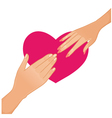 Woman and man hands on the background with heart vector image vector image