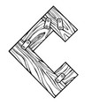 wooden letter c engraving vector image vector image