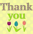 Thank You Card with Flowers vector image