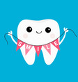 healthy tooth icon holding bunting flag smile vector image