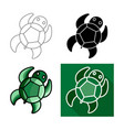 sea turtle icon flat long shadow design vector image