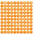 100 luggage icons set orange vector image vector image