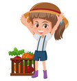 a young girl farmer and organic product vector image
