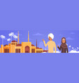 arab couple over muslim cityscape nabawi mosque vector image