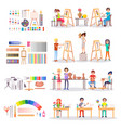 art school students and supplies for creating set vector image vector image