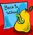 Back to school worm in pear vector image vector image