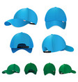 blank baseball caps in different sides and colors vector image