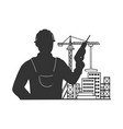 builder with building construction site sketch vector image vector image