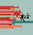 businessman and woman are running in reverse trend vector image