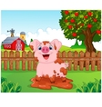 Cartoon cute baby pig in the garden vector image vector image