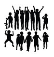 childrens silhouette playing together vector image