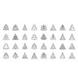 Christmas tree simple black line icons set