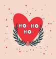 christmas wreath and heart greeting card design vector image