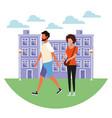 couple at city cartoon vector image vector image