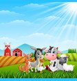 cute animals farm in the hills vector image vector image