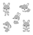 cute cartoon rabbits in flat style vector image