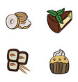 desserts icons pack vector image