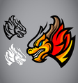 Dragon gold head emblem logo vector image