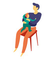 father sitting with bason on lap isolated vector image vector image