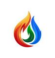 fire water drop logo design template vector image