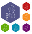 fisherman icons hexahedron vector image vector image