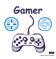 Gamepad and multiply icons vector image